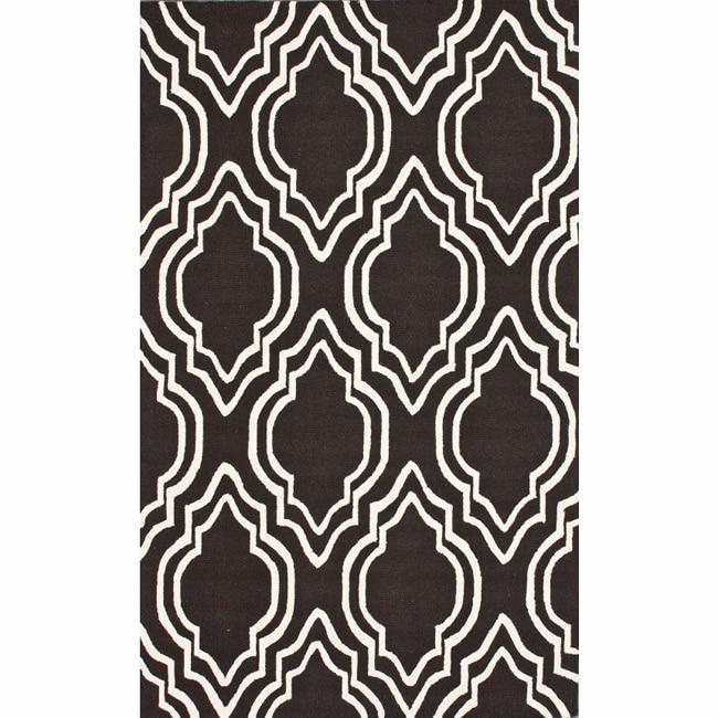 nuLOOM Handmade Modern Trellis Brown Wool Rug (5' x 8')