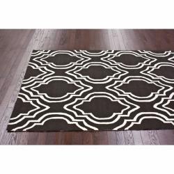 nuLOOM Handmade Modern Trellis Brown Wool Rug (5' x 8') - Thumbnail 1