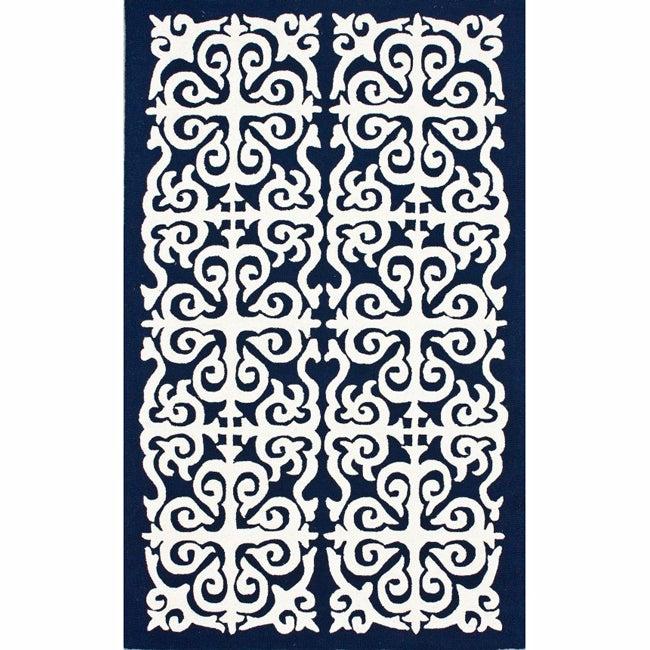 nuLOOM Handmade Marrakesh Fez Navy Wool Rug (5' x 8')