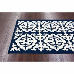 nuLOOM Handmade Marrakesh Fez Navy Wool Rug (5' x 8') - Thumbnail 1