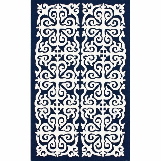 nuLOOM Handmade Marrakesh Fez Navy Wool Rug (7'6 x 9'6)