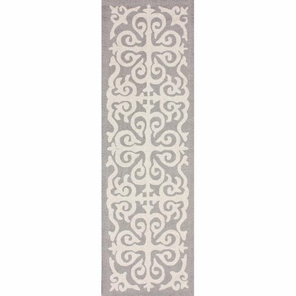 nuLOOM Handmade Marrakesh Fez Grey Wool Runner (2'6 x 8')