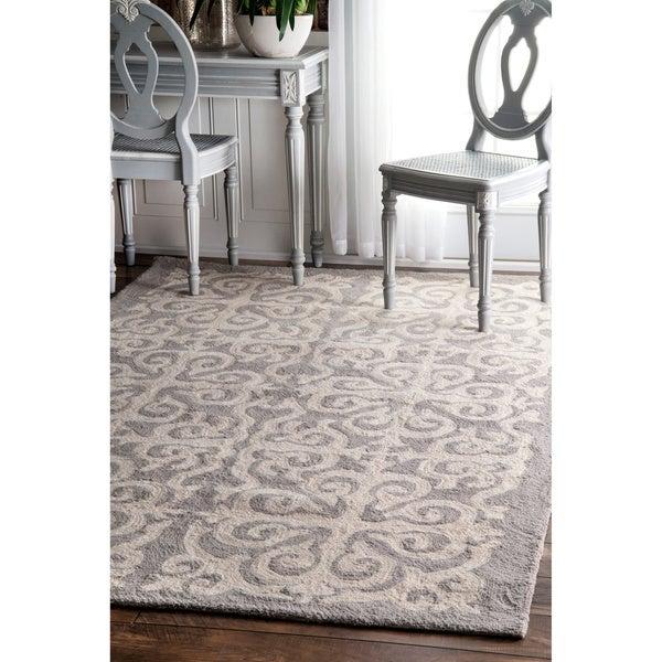 nuLOOM Handmade Marrakesh Fez Grey Wool Rug (7'6 x 9'6)