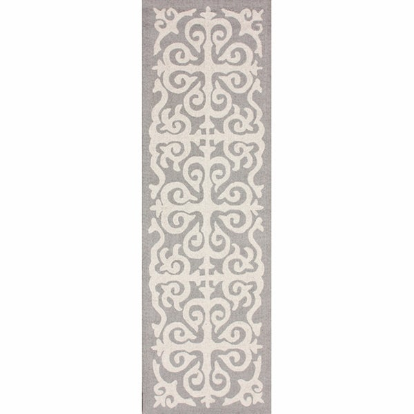 nuLOOM Handmade Marrakesh Fez Grey Wool Runner (2'6 x 10')