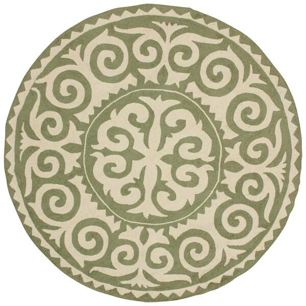 nuLOOM Handmade Marrakesh Fez Green Wool Rug (6' Round)