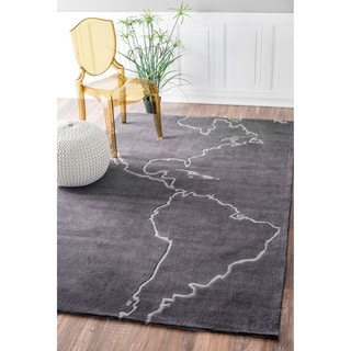 nuLOOM Handmade Grey Map Rug (5' x 8')