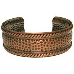 Carolina Glamour Collection Copper-plated Textured Rope Cuff Bracelet