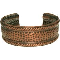 Copper-plated Textured Rope Cuff Bracelet