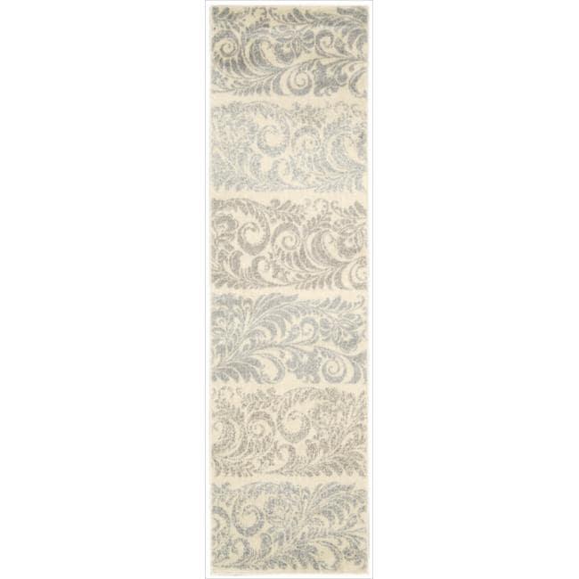 "Modern Nourison Utopia Ivory Abstract Rug (2'3"" x 8')"