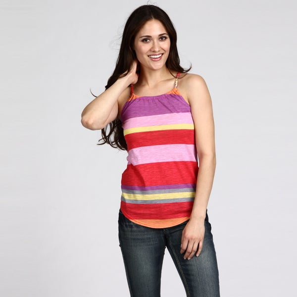 Razzle Dazzle Women's Stripe Pattern Braided Strap Tank Top FINAL SALE