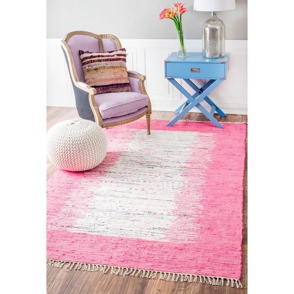 nuLOOM Handmade Mona Kilim Flatweave Pink Cotton Rug (4' x 6')