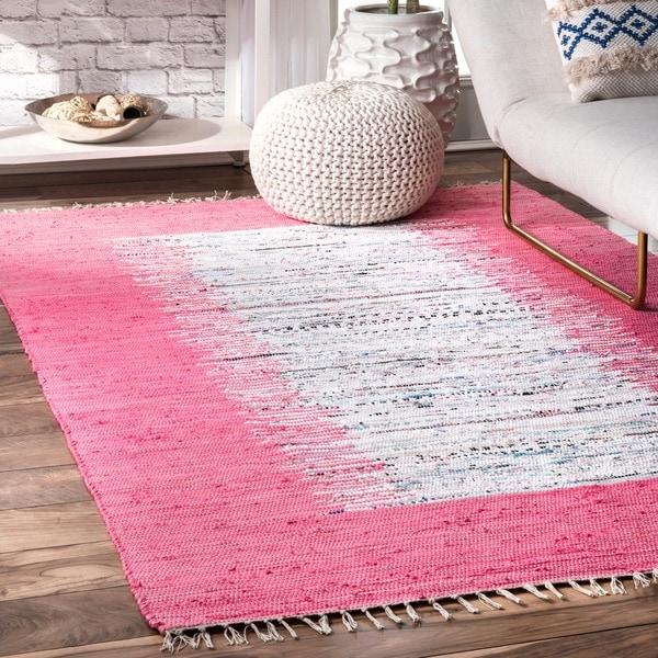 nuLOOM Handmade Mona Kilim Flatweave Pink Cotton Rug (4' x 6') - 4' x 6'