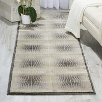 Contemporary Nourison Utopia Ivory Abstract Rug - 2'3 x 8'