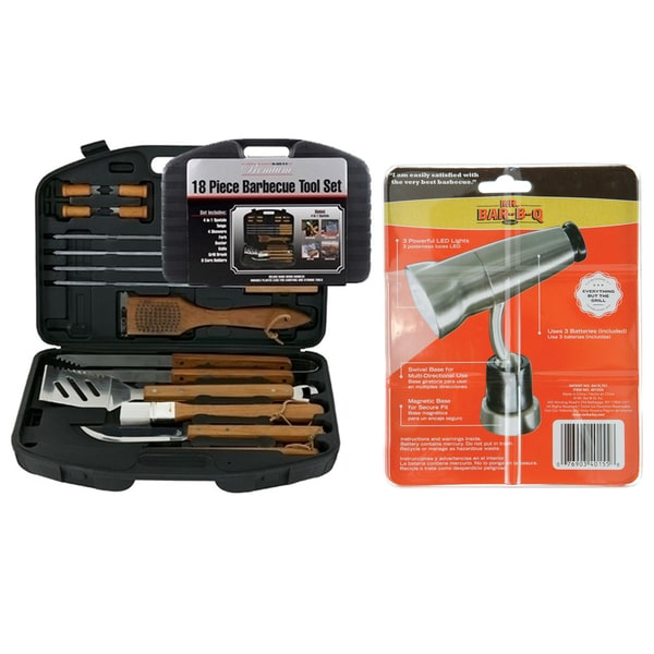 Mr. BBQ 18-piece Stainless Steel Tool Set with Magnetic Light