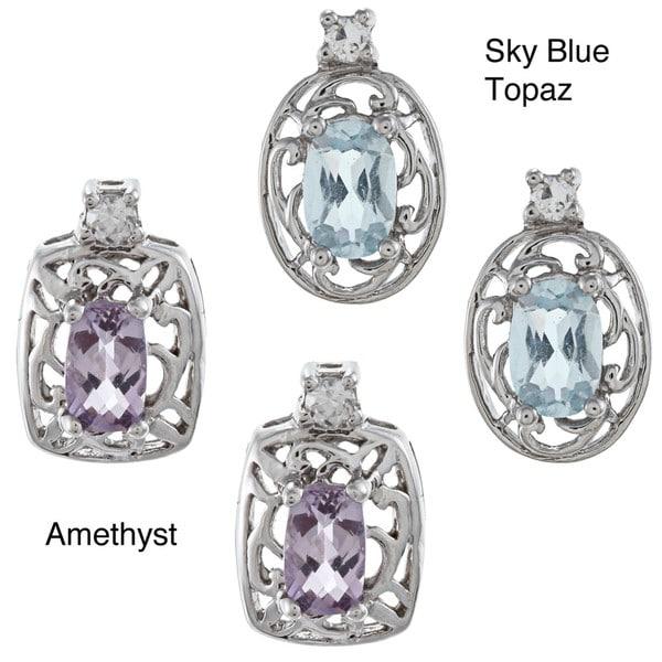 Gioelli Sterling Silver Created Gemstone and Cubic Zirconia Filigree Earrings