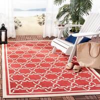 "Safavieh Poolside Red/ Bone Indoor Outdoor Rug - 6'7"" x 6'7"" square"