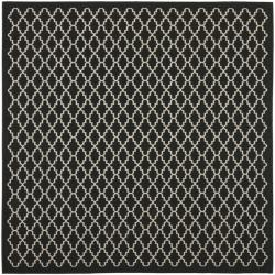 "Safavieh Poolside Black/Beige Indoor/Outdoor Polypropylene Rug (6'7"" Square)"