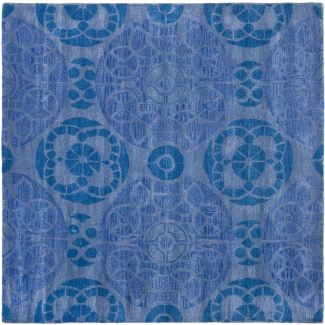 Safavieh Handmade Chatham Treasures Blue New Zealand Wool Rug (7' Square)
