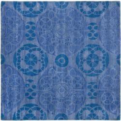 Safavieh Handmade Chatham Treasures Blue New Zealand Wool Rug (7' Square)