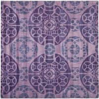 Safavieh Handmade Treasures Purple New Zealand Wool Rug - 7' x 7' Square