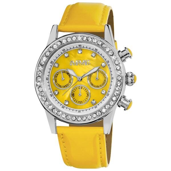 Yellow August Steiner Women's Multifunction Dazzling Strap Watch