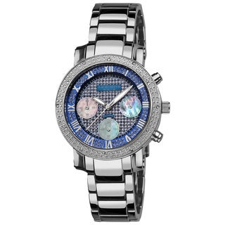 Akribos XXIV Women's Diamond-accented Blue Chronograph Bracelet Watch with FREE GIFT
