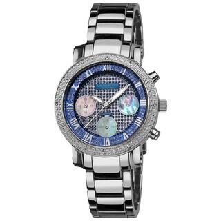 Akribos XXIV Women's Diamond-accented Blue Chronograph Bracelet Watch with FREE GIFT