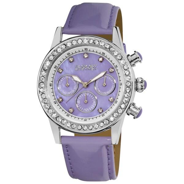 Lavendar August Steiner Women's Multifunction Dazzling Strap Watch