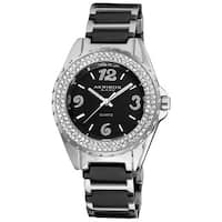 Akribos XXIV Women's Quartz Crystal Ceramic Black Bracelet Watch
