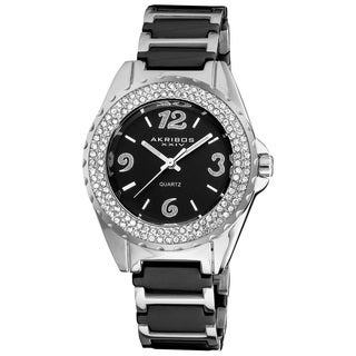 Akribos XXIV Women's Quartz Crystal Ceramic Black Bracelet Watch with FREE Bangle