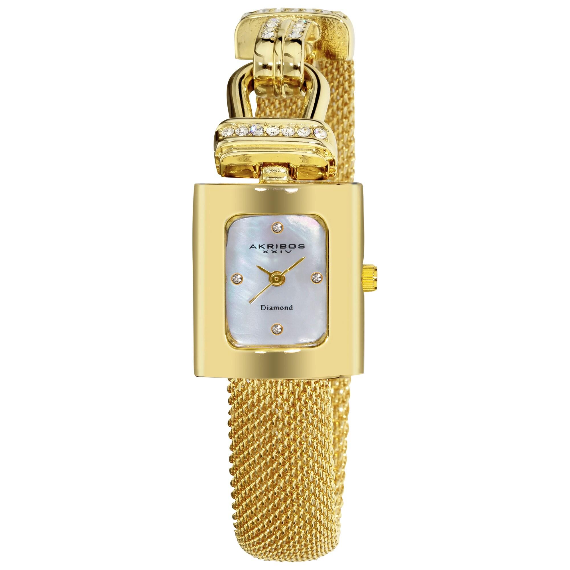 Akribos XXIV Women's Mesh Wraparound Quartz Gold-Tone Watch