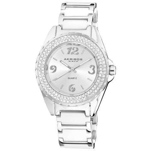 Akribos XXIV Women's Quartz Mineral-Crystal Ceramic White Bracelet Watch