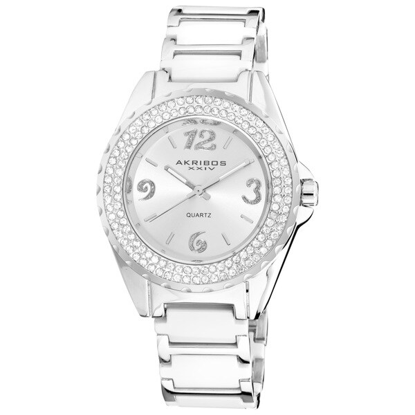 Akribos XXIV Women's Quartz Mineral-Crystal Ceramic White Bracelet Watch with FREE GIFT