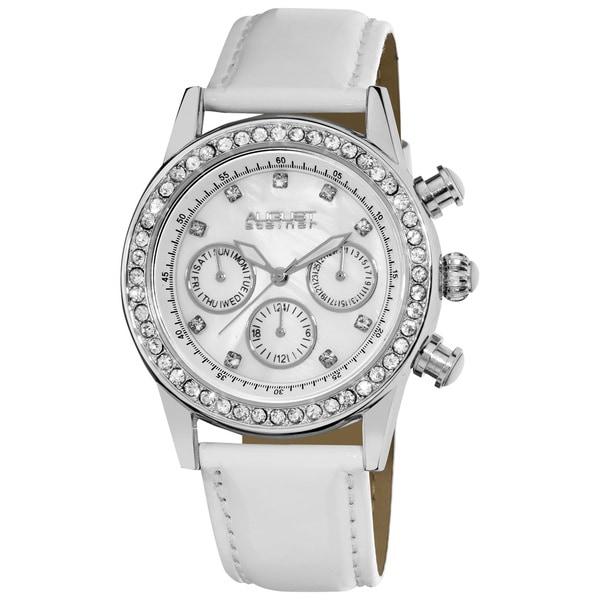 White August Steiner Women's Multifunction Dazzling Silver-Tone Strap Watch