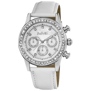White August Steiner Women's Multifunction Dazzling Silver-Tone Strap Watch