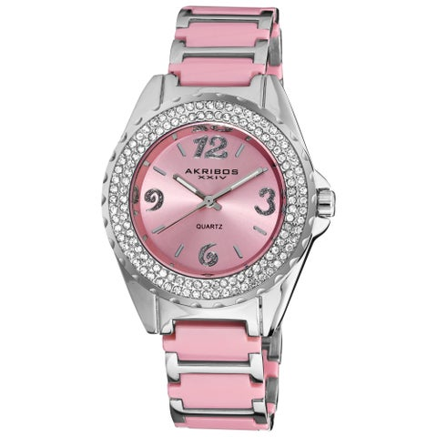 Akribos XXIV Women's Pink Quartz Crystal Ceramic Bracelet Watch