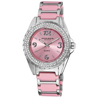 Akribos XXIV Women's Pink Quartz Crystal Ceramic Bracelet Watch