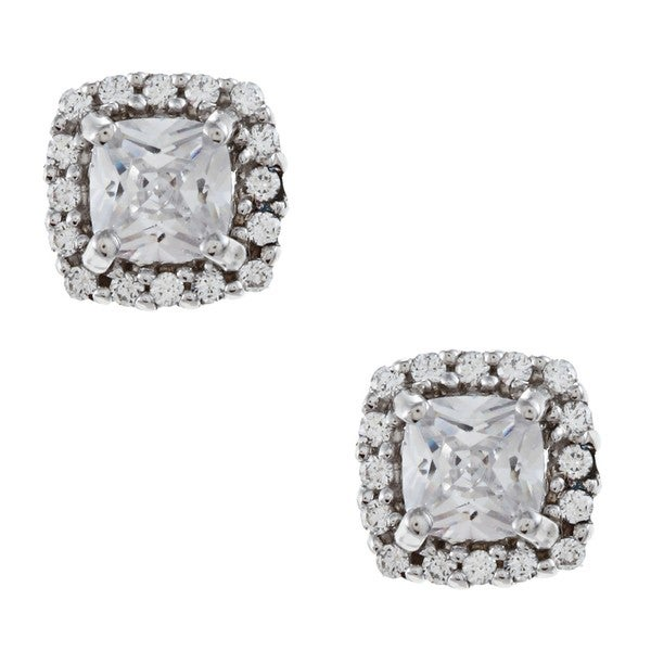 Gioelli Sterling Silver Clear Cubic Zirconia Stud Earrings