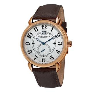 Stuhrling Original Men's Eternity Swiss Quartz Brown Leather Strap Watch
