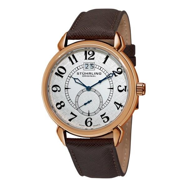 Stuhrling Original Men's Eternity Swiss Quartz Brown Leather Strap Watch