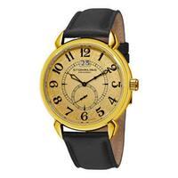 Stuhrling Original Men's Eternity Swiss Quartz Black Leather Strap Watch