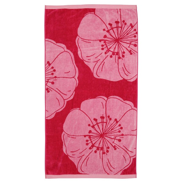 Oversized Bright Pink Hibiscus Jacquard Cotton Velour Beach Towel