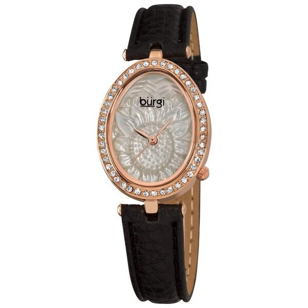 Burgi Women's Oval Flower-Pattern Japanese-Quartz Watch