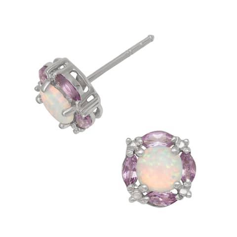 Gioelli Sterling Silver Created Opal and Amethyst Earrings