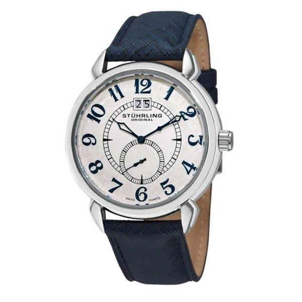 Stuhrling Original Men's Eternity Swiss Quartz Blue Leather Strap Watch
