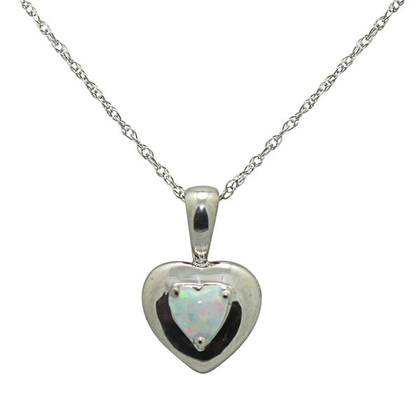 Gioelli Sterling Silver Simulated Opal Heart Necklace