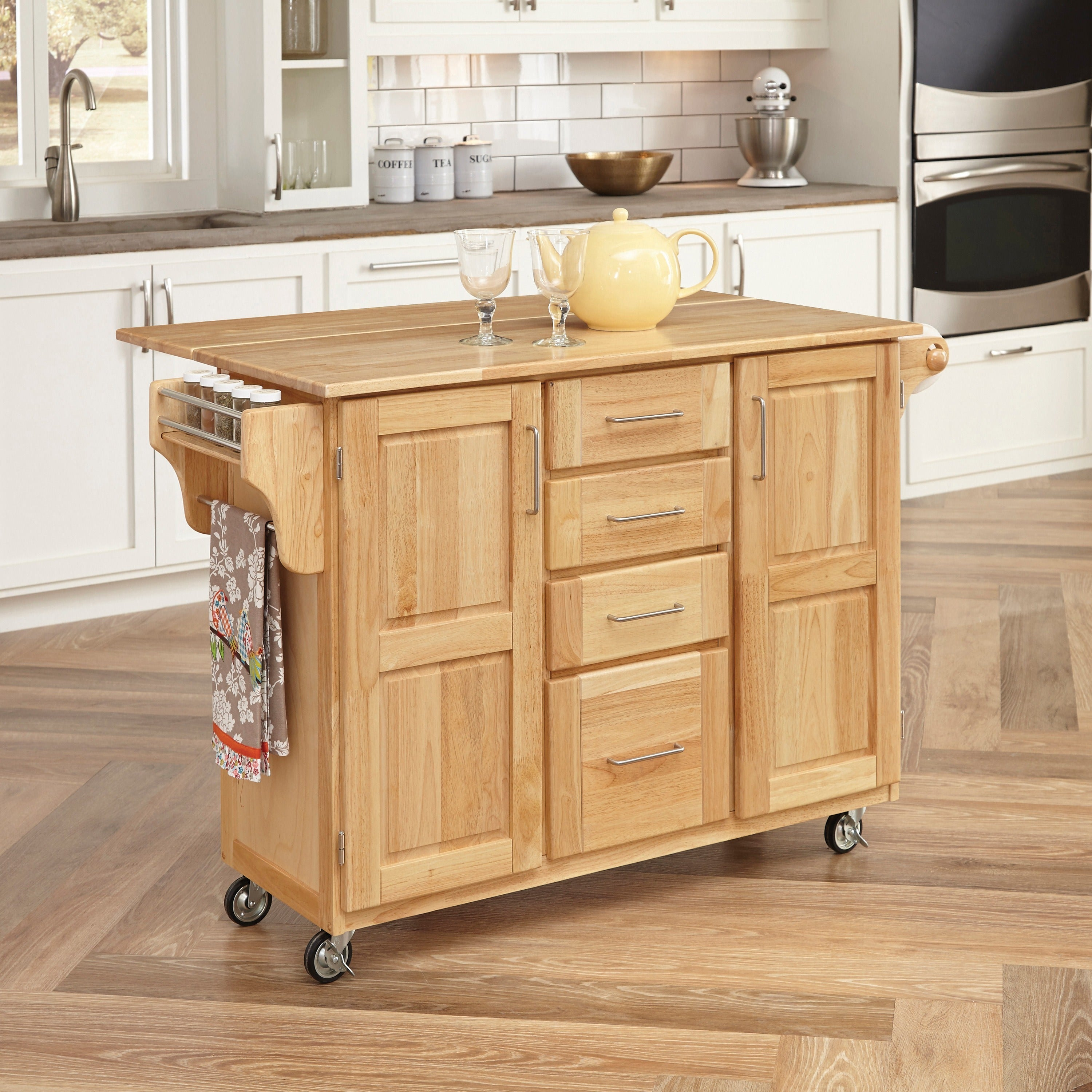 Home Styles Breakfast Bar Kitchen Cart with Natural Wood ...