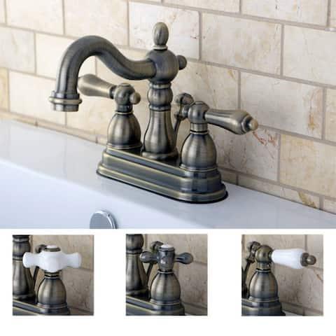 Victorian High Spout Vintage Brass Bathroom Faucet