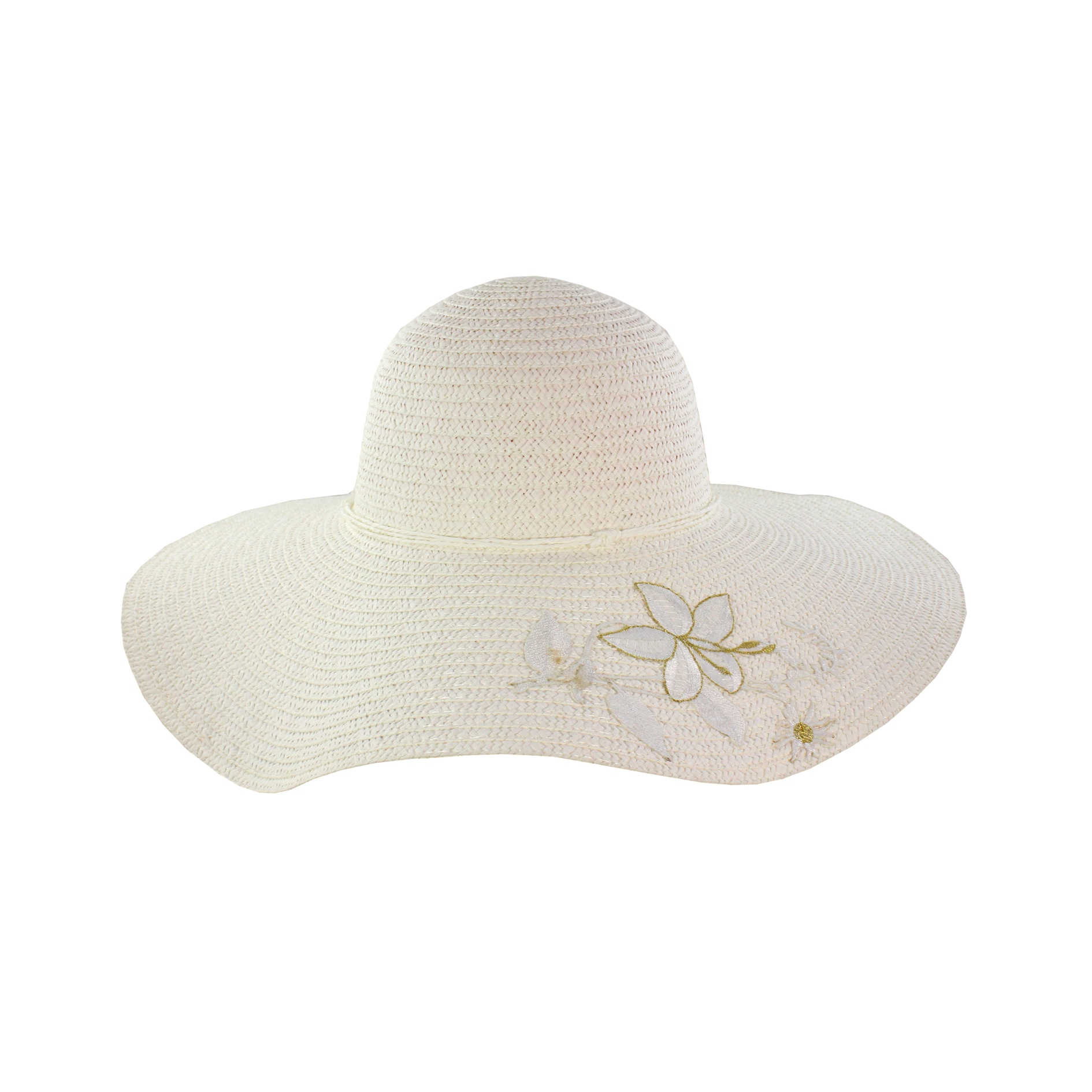 Faddism Women's White Flower Straw Sun Hat