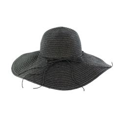 Faddism Women's Black Flower Straw Sun Hat - Thumbnail 1